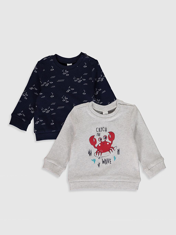 Ekru Erkek Bebek Baskılı Sweatshirt 2'li 0S6824Z1 LC Waikiki