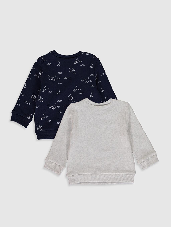 %97 Pamuk %3 Elastan  Erkek Bebek Baskılı Sweatshirt 2'li