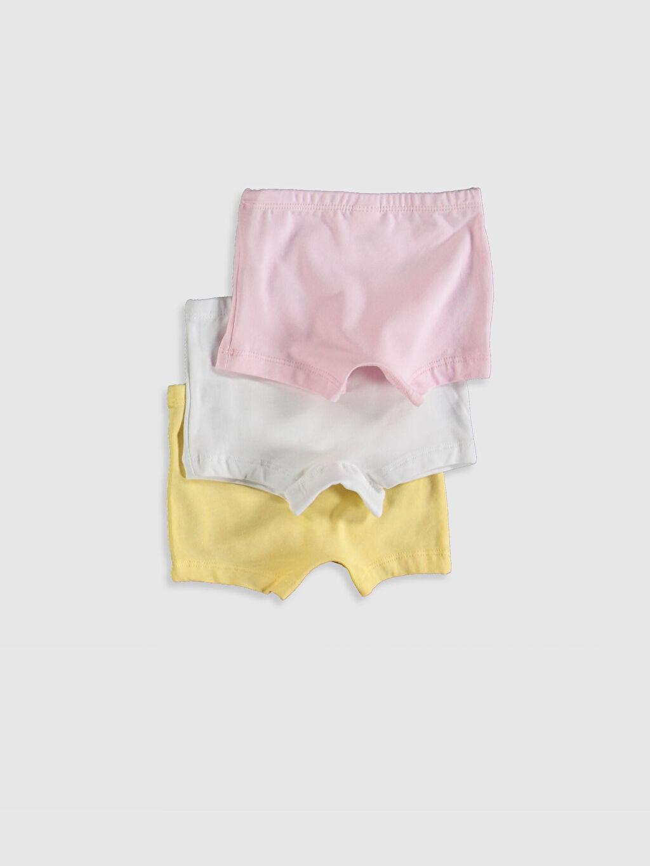 %96 Pamuk %4 Elastan Standart İç Giyim Üst Kız Bebek Pamuklu Boxer 3'lü