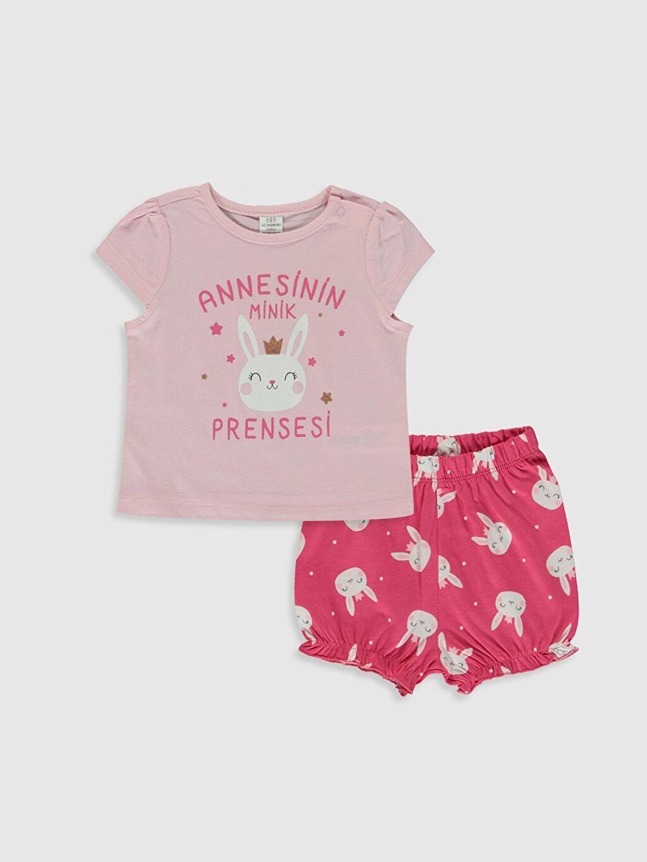 Pembe Kız Bebek Baskılı Pamuklu Pijama Takımı 0S7167Z1 LC Waikiki