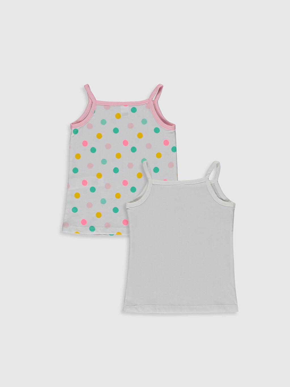 %100 Pamuk Standart İç Giyim Üst Kız Bebek Baskılı Atlet 2'li