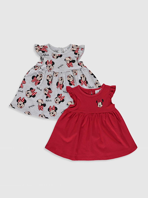 Kırmızı Kız Bebek Minnie Mouse Baskılı Elbise 2'li 0S7512Z1 LC Waikiki