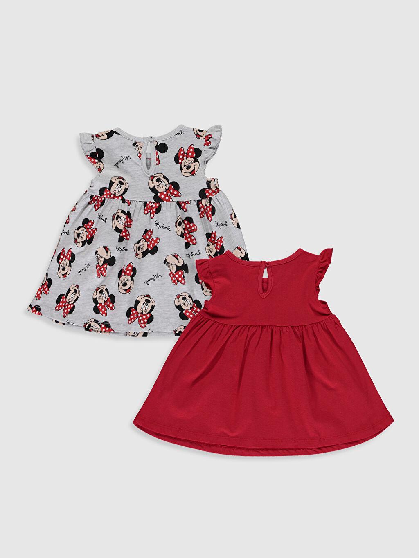 %100 Pamuk  Kız Bebek Minnie Mouse Baskılı Elbise 2'li