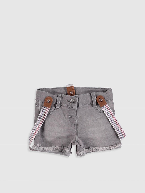 Gri Kız Bebek Jean Şort ve Pantolon Askısı 0S7568Z1 LC Waikiki