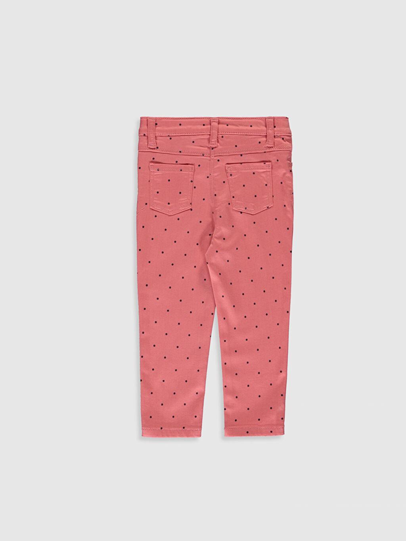%67 Pamuk %20 Poliester %11 Viskoz %2 Elastan Normal Bel Standart Kız Bebek Puantiye Baskılı Twill Pantolon