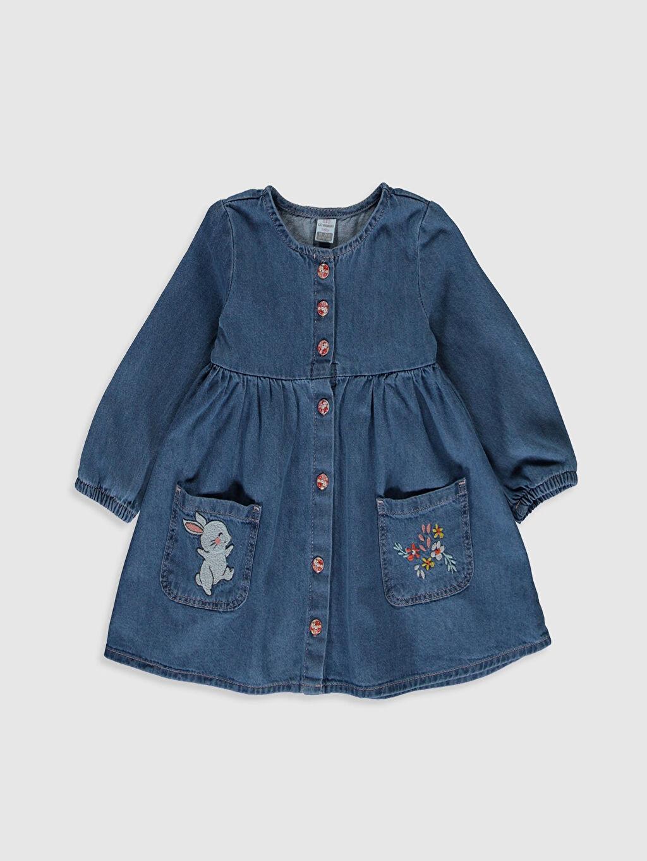 İndigo Kız Bebek Nakışlı Jean Elbise 0S7637Z1 LC Waikiki