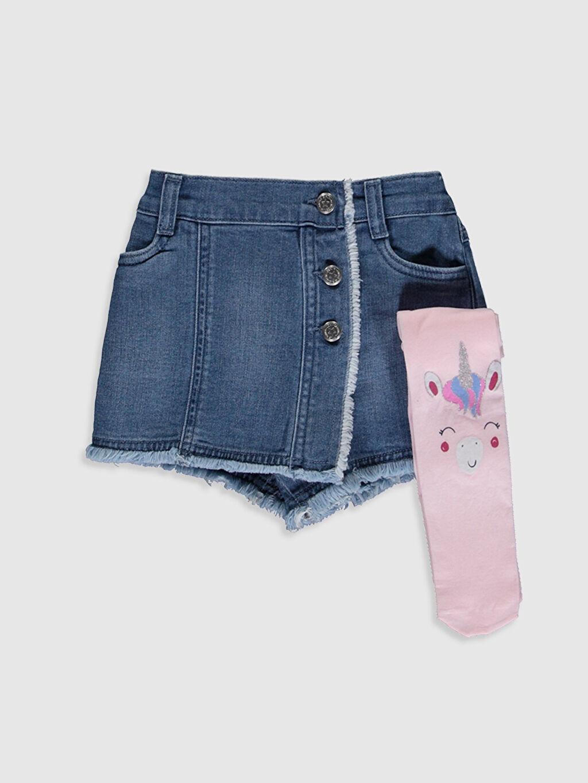 İndigo Kız Bebek Jean Şort Etek ve Külotlu Çorap 0S8417Z1 LC Waikiki