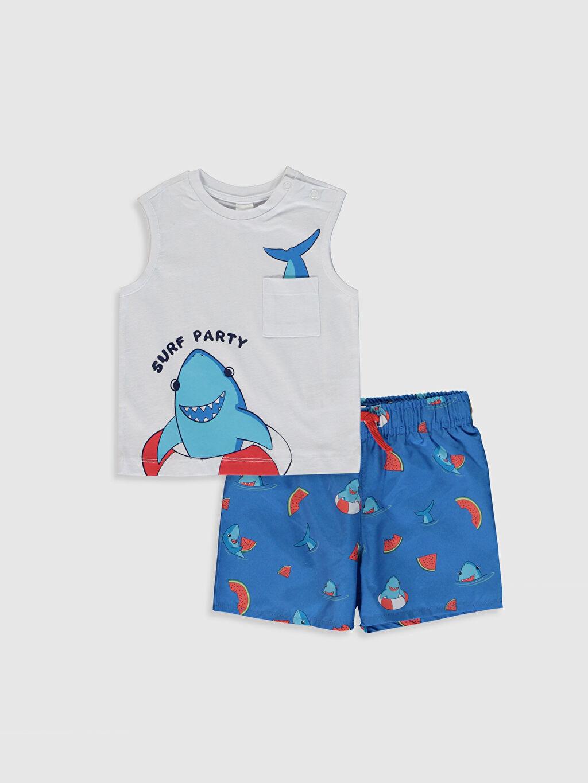 Beyaz Erkek Bebek Baskılı Yüzme Takım 0S8950Z1 LC Waikiki