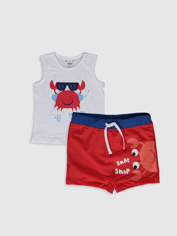 %100 Pamuk %80 Polyester %20 Elastan %100 Polyester  Erkek Bebek Baskılı Plaj Kıyafeti