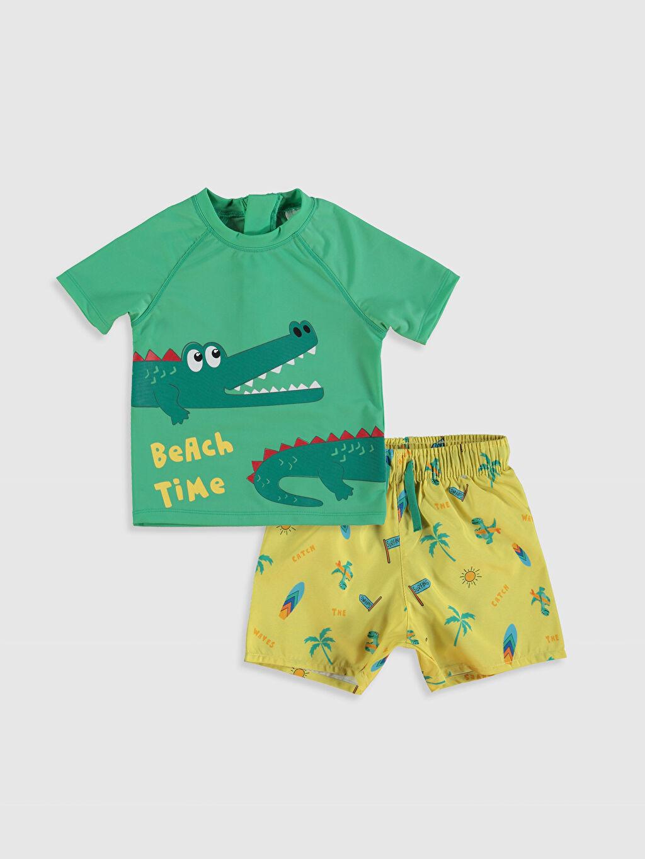 Yeşil Erkek Bebek Baskılı Plaj Kıyafeti 0S8996Z1 LC Waikiki