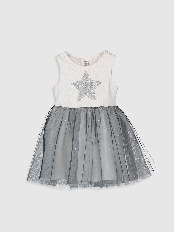 Ekru Kız Bebek Desenli Elbise 0S9555Z1 LC Waikiki