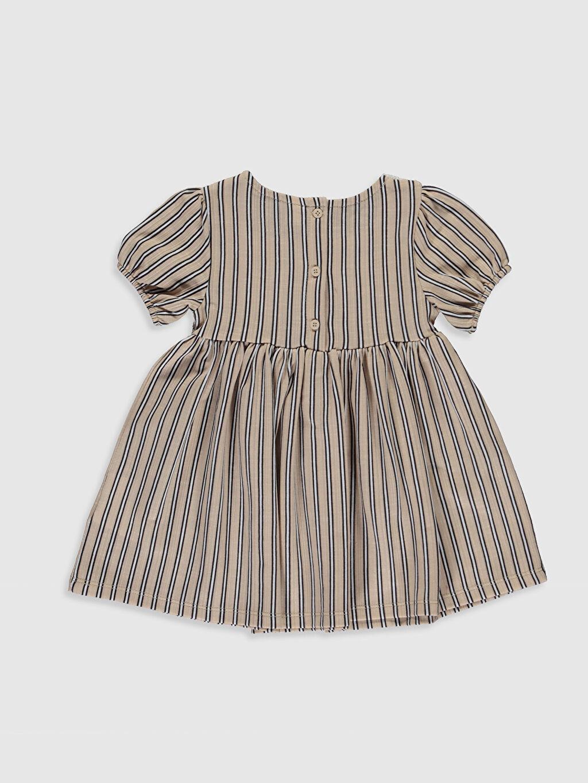%65 Pamuk %35 Polyester Çizgili Kız Bebek Çizgili Elbise