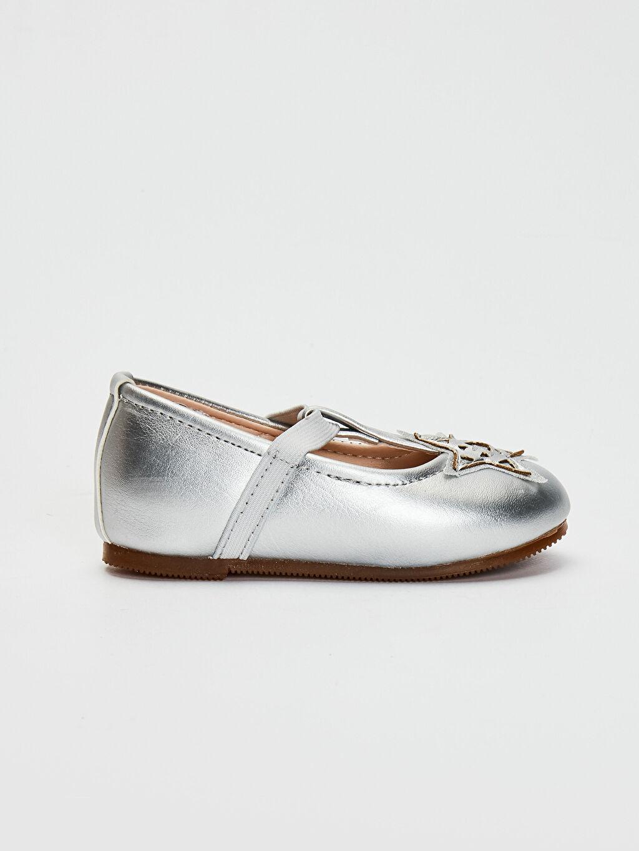 Gri Kız Bebek Aplikeli Babet Ayakkabı 0SG237Z1 LC Waikiki