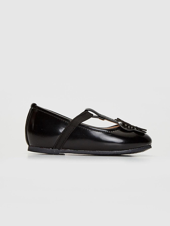 Siyah Kız Bebek Aplikeli Babet Ayakkabı 0SG237Z1 LC Waikiki