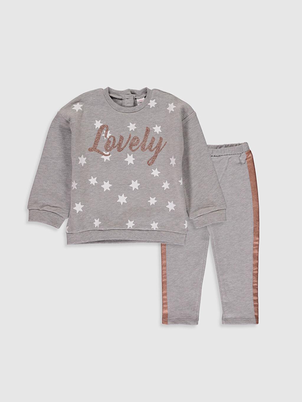 Gri Kız Bebek Baskılı Pijama Takım 0SG261Z1 LC Waikiki