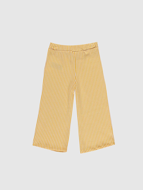 %57 Pamuk %29 Polyester %14 Viskoz Bol Kız Bebek Çizgili Pantolon