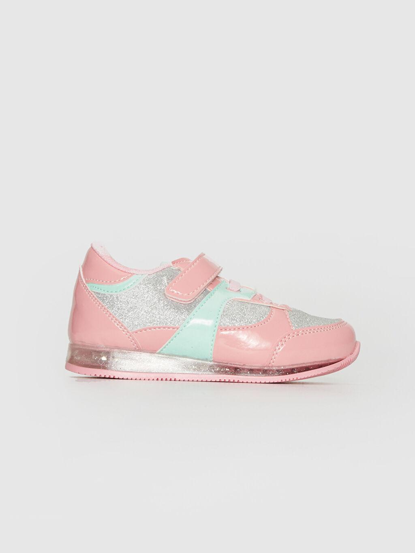 Pembe Kız Bebek Sim Detaylı Cırt Cırtlı Spor Ayakkabı 0SG373Z1 LC Waikiki