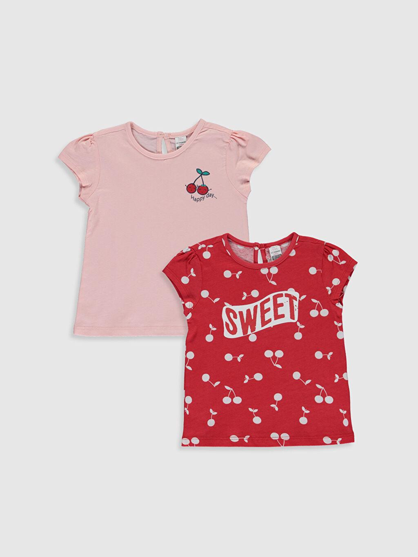 Kırmızı Kız Bebek Baskılı Pamuklu Tişört 2'li  0SG911Z1 LC Waikiki