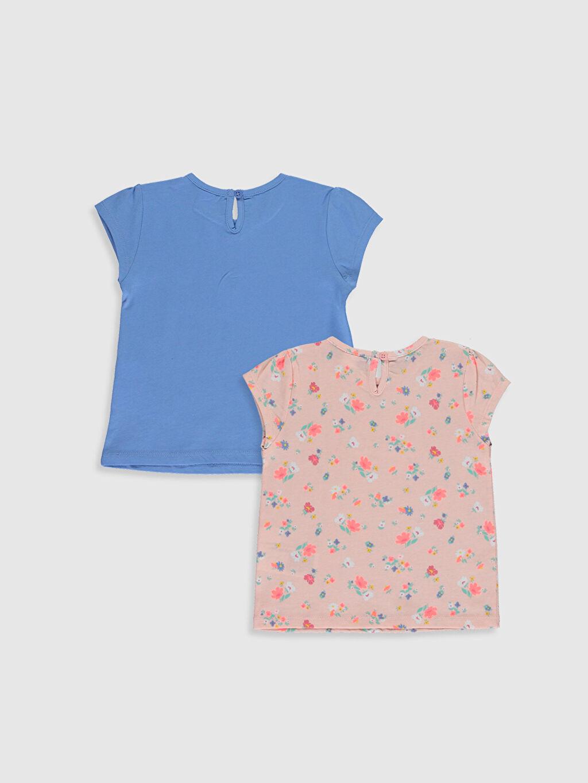 %100 Pamuk Baskılı Kısa Kol Tişört Bisiklet Yaka Kız Bebek Baskılı Tişört 2'li