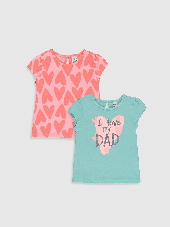 Turkuaz Kız Bebek Baskılı Pamuklu Tişört 2'li  0SG933Z1 LC Waikiki