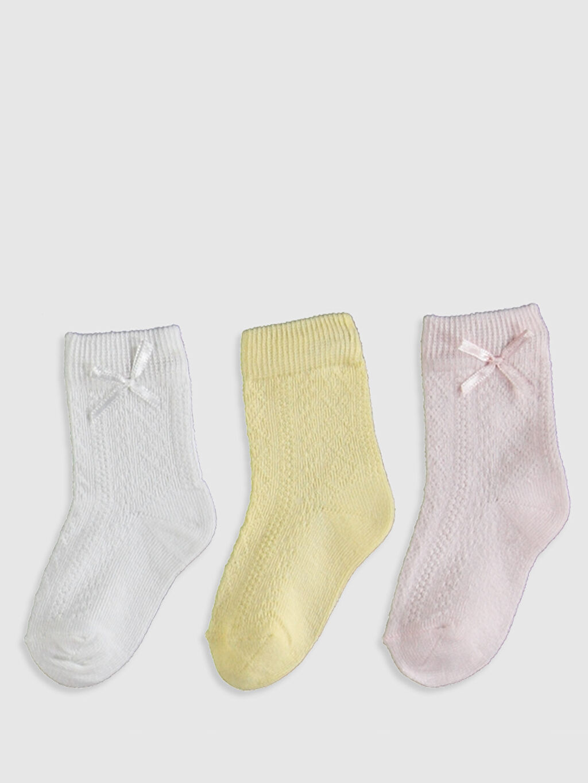 %79 Pamuk %20 Poliamid %1 Elastan  Kız Bebek Soket Çorap 3'lü