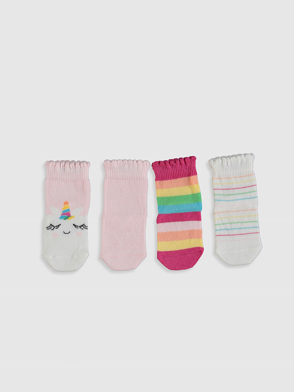 %77 Pamuk %21 Poliamid %2 Elastan  Kız Bebek Soket Çorap 4'lü