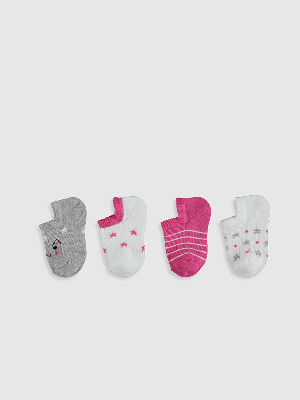 %79 Pamuk %19 Poliamid %2 Elastan  Kız Bebek Patik Çorap 4'lü