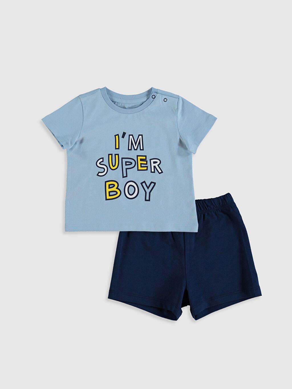Mavi Erkek Bebek Baskılı Pijama Takımı 0SH445Z1 LC Waikiki
