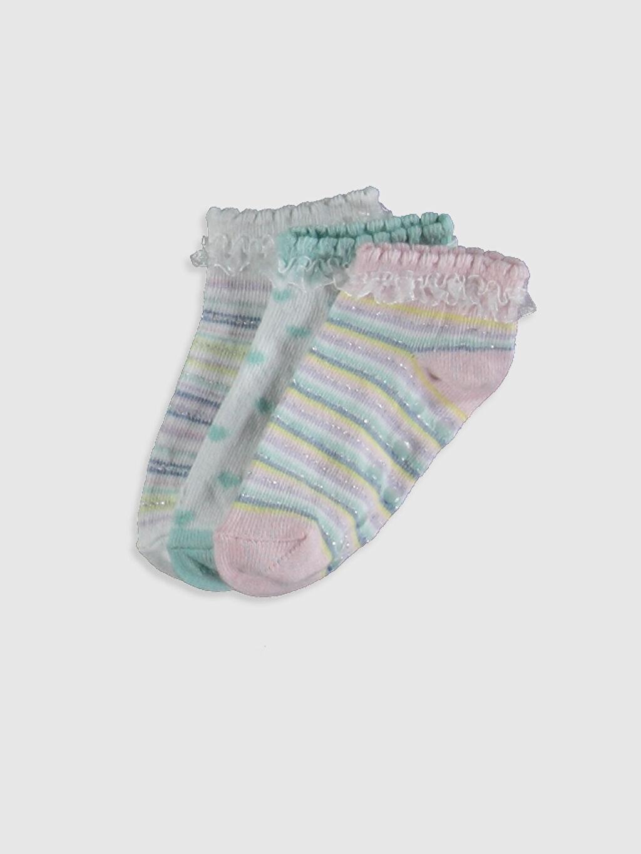 Çok Renkli Kız Bebek Desenli Patik Çorap 3'lü 0SH449Z1 LC Waikiki