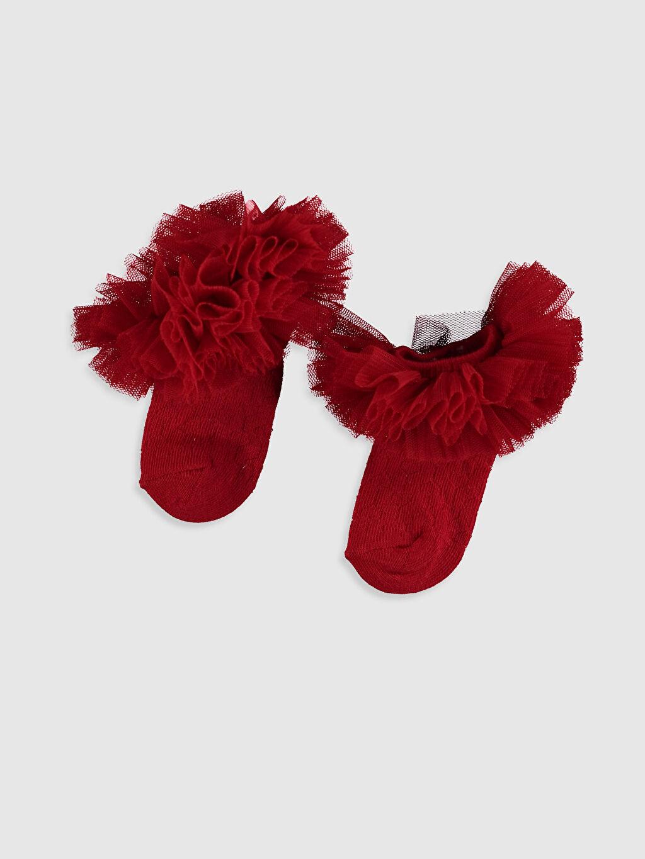 Kırmızı Kız Bebek Patik Çorap 0SH480Z1 LC Waikiki