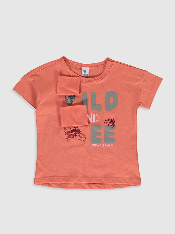 %100 Pamuk Normal Baskılı Kısa Kol Tişört Bisiklet Yaka Erkek Bebek Pamuklu Baskılı Tişört