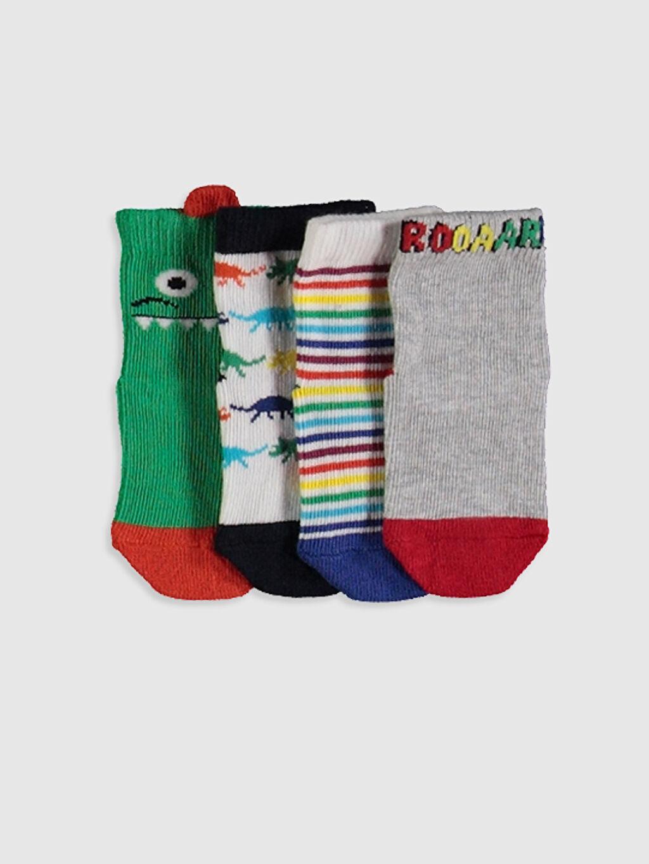 Çok Renkli Erkek Bebek Baskılı Soket Çorap 4'lü 0SH527Z1 LC Waikiki
