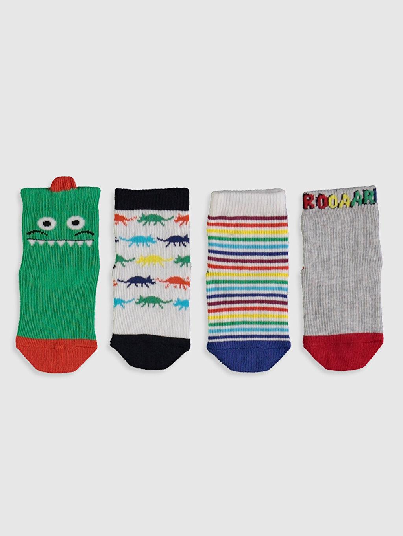 %78 Pamuk %20 Poliamid %2 Elastan  Erkek Bebek Baskılı Soket Çorap 4'lü