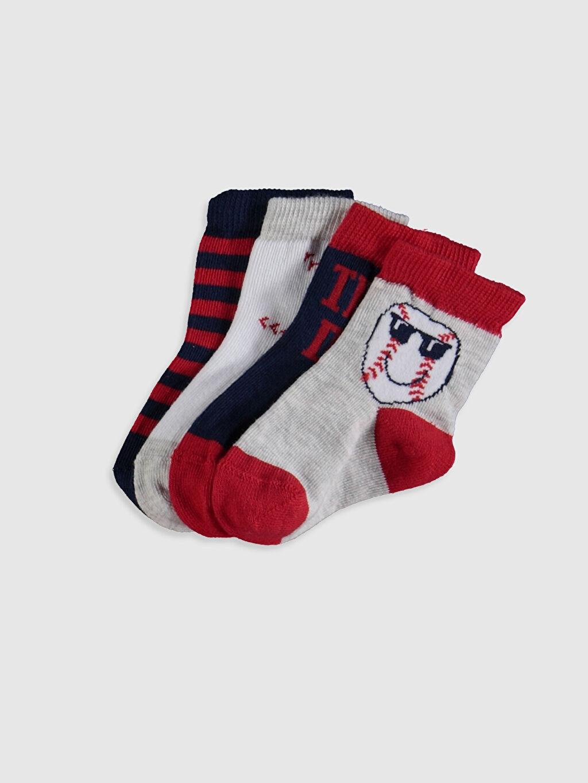 Çok Renkli Erkek Bebek Baskılı Soket Çorap 4'lü 0SH529Z1 LC Waikiki