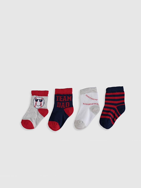 %55 Pamuk %12 Poliester %30 Poliamid %3 Elastan  Erkek Bebek Baskılı Soket Çorap 4'lü