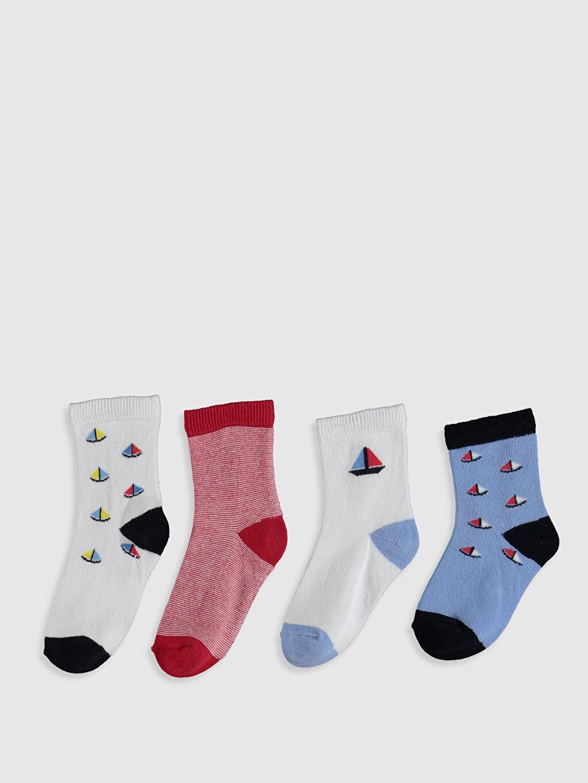 %78 Pamuk %20 Poliamid %2 Elastan  Erkek Bebek Soket Çorap 4'lü