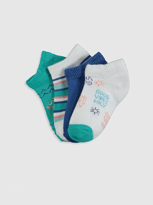 Çok Renkli Erkek Bebek Baskılı Patik Çorap 4'lü 0SH725Z1 LC Waikiki