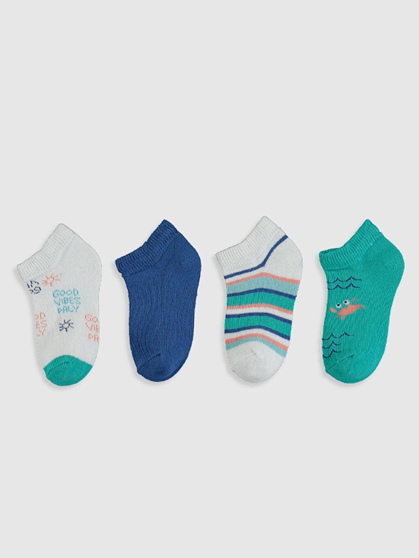 %73 Pamuk %25 Poliamid %2 Elastan  Erkek Bebek Baskılı Patik Çorap 4'lü
