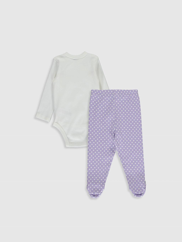 %100 Pamuk  Kız Bebek Çıtçıt Body ve Patikli Pantolon