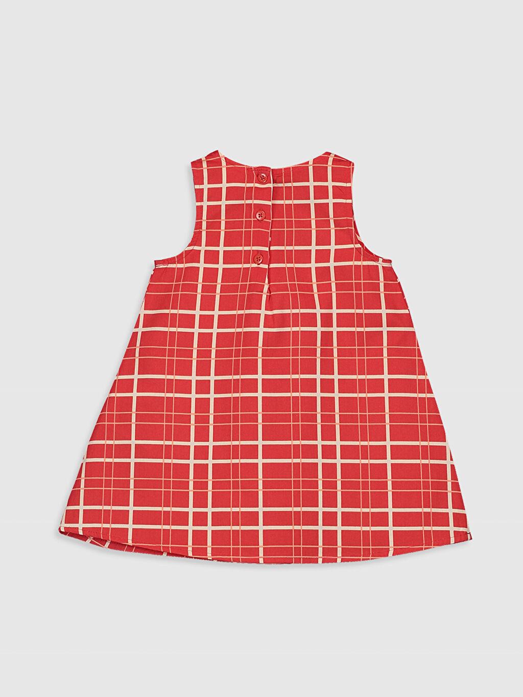 %100 Pamuk Ekoseli Kız Bebek Ekoseli Elbise