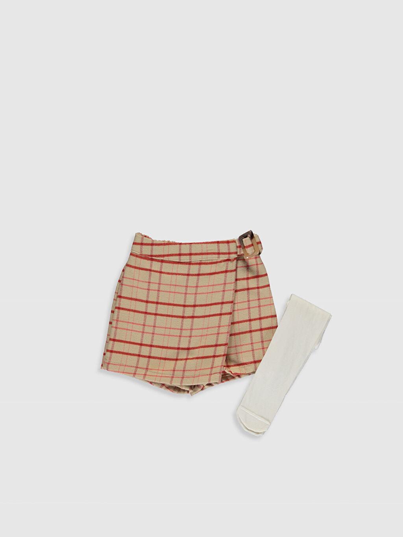 Bej Kız Bebek Ekose Şort ve Külotlu Çorap 0SJ480Z1 LC Waikiki