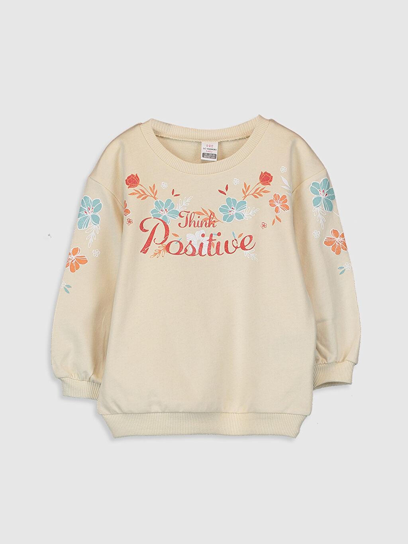 Bej Kız Bebek Baskılı Sweatshirt 0SJ653Z1 LC Waikiki
