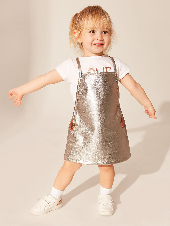 LC Waikiki Gri Kız Bebek Tişört ve Elbise
