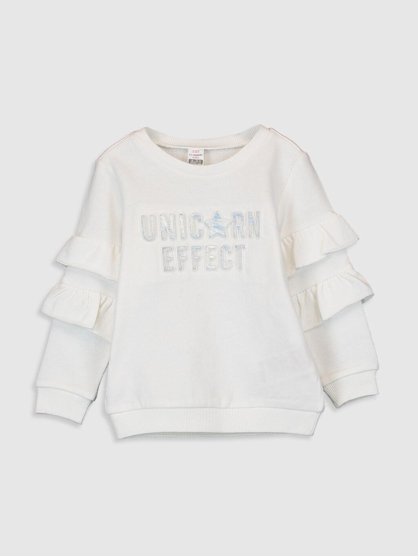 Ekru Kız Bebek Yazı Basklı Sweatshirt 0SK075Z1 LC Waikiki
