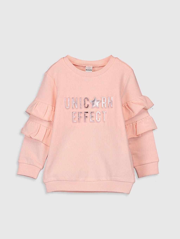 Pembe Kız Bebek Yazı Basklı Sweatshirt 0SK075Z1 LC Waikiki