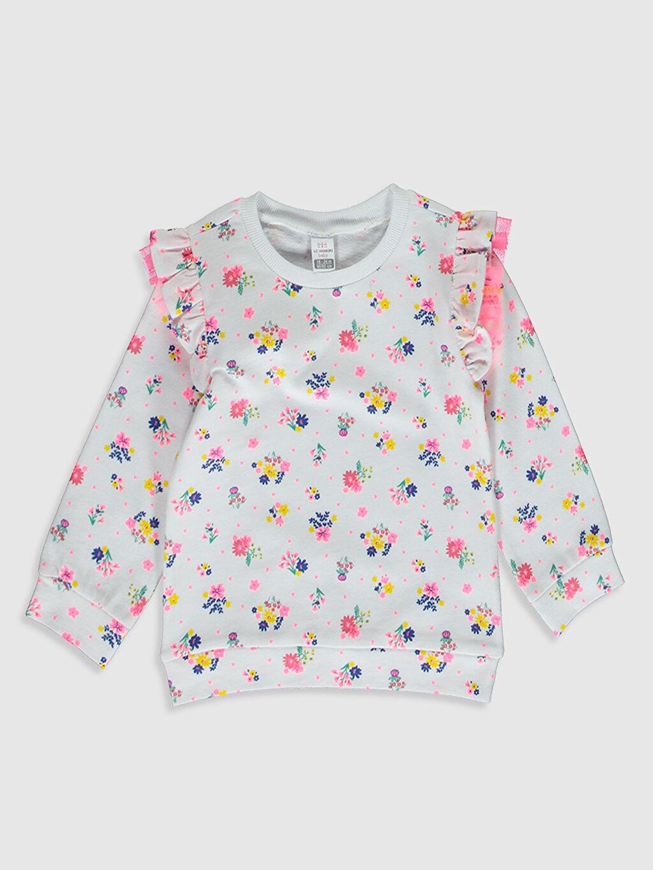 Beyaz Kız Bebek Desenli Sweatshirt 0SK732Z1 LC Waikiki