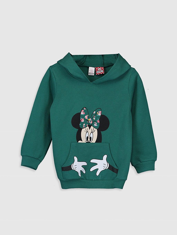 Turkuaz Kız Bebek Minnie Mouse Baskılı Kapüşonlu Sweatshirt 0SK885Z1 LC Waikiki