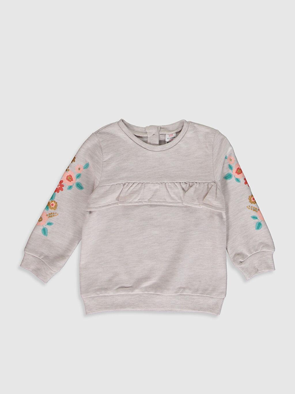 Bej Kız Bebek Baskılı Sweatshirt 0SL219Z1 LC Waikiki