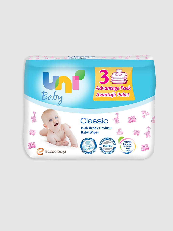 Beyaz  Uni Baby Yenidoğan Islak Pamuk Mendil 3'lü Paket 0SM090Z1 LC Waikiki