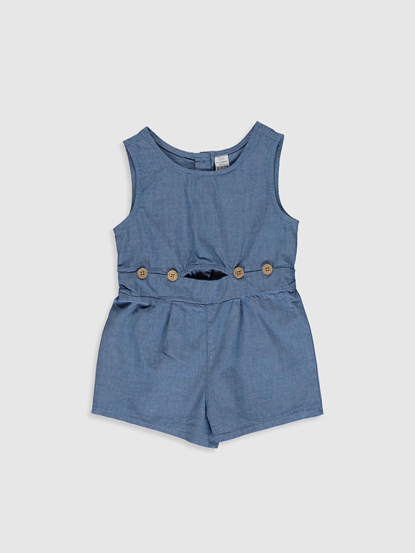 Mavi Kız Bebek Düğme Detaylı Pamuklu Salopet 0SM400Z1 LC Waikiki